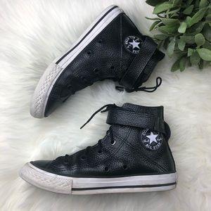 Converse High Top Lace Up Vegan Leather Shoes sz 1